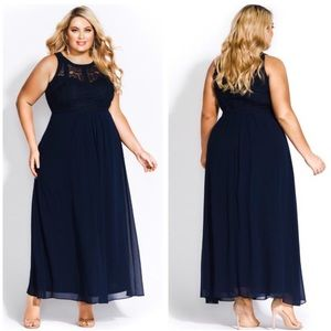 City Chic • NWT Navy Lace Panel Bodice Maxi Dress